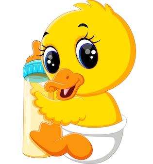 Babyente, die milchflasche hält