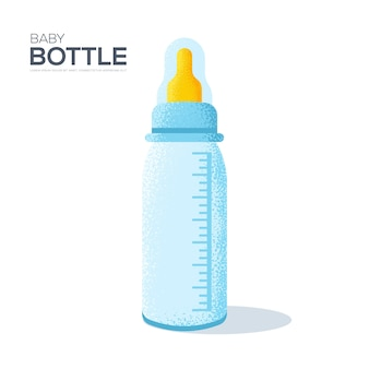 Babyflasche auf weißem hintergrund. kunstkorn strukturierter stil