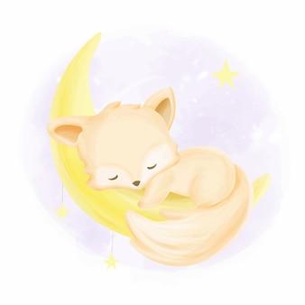 Babyfuchs, der auf dem mond schläft