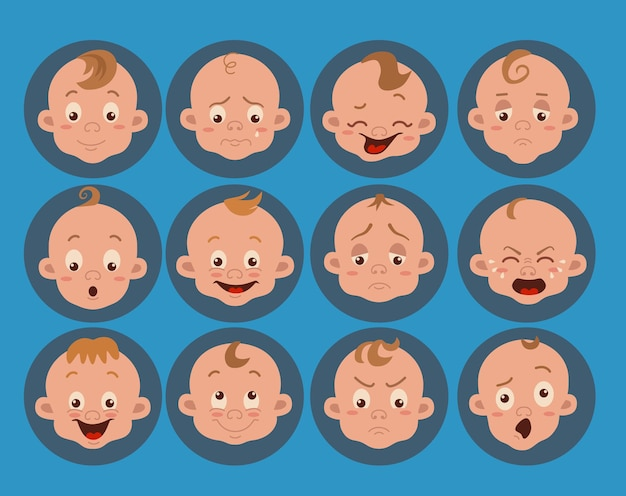Babygesichtsausdruck isolierte ikonen