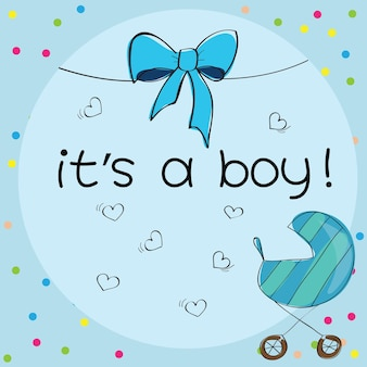 Babykarte - es ist ein jungenthema - mit kinderwagen
