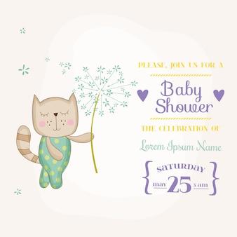 Babykatze mit blumenankunftskarte