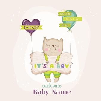 Babykatze mit luftballons ankunftskarte