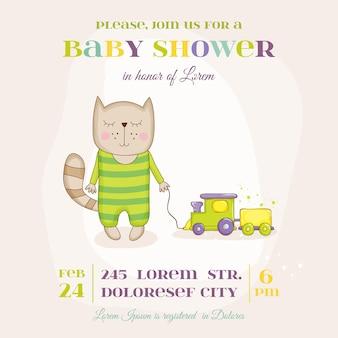 Babykatze mit zugankunftskarte