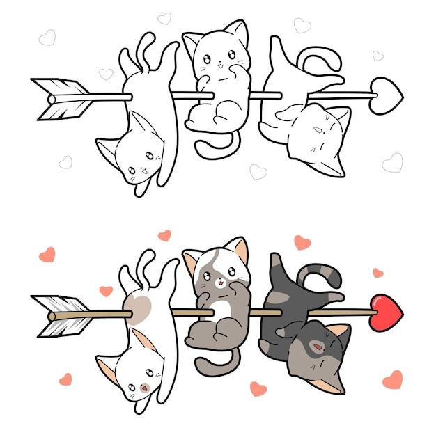 Babykatzen werden mit einem pfeil der liebe cartoon malvorlagen durchbohrt