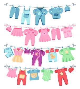 Babykleidung, die auf wäscheleinevektorillustration trocknet