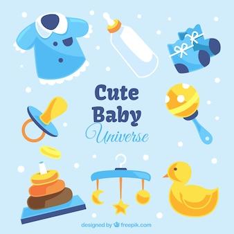 Babykleidung und spielzeug