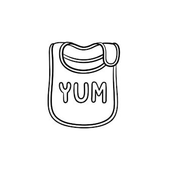Babylätzchen für neugeborenes baby handgezeichnete umriss-doodle-symbol. babylätzchen als fütterungszubehörvektorskizzenillustration für druck, netz, mobile und infografiken lokalisiert auf weißem hintergrund.