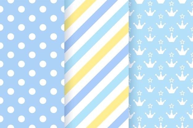 Babymuster. kinder nahtlose textur. blauer pastellhintergrund. geometrischer textildruck des jungen.