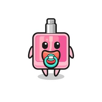 Babyparfüm-cartoon-figur mit schnuller, süßes design für t-shirt, aufkleber, logo-element
