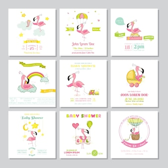 Babyparty-ankunftskarte flamingomädchen