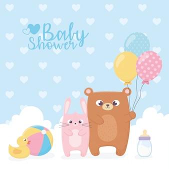 Babyparty, bär und kaninchen mit ballonballente-flaschenkarte