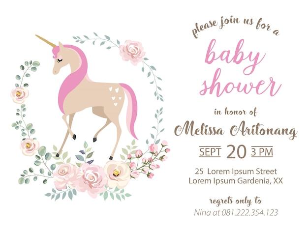 Babyparty-einladung mit einhorn und blumenkranz