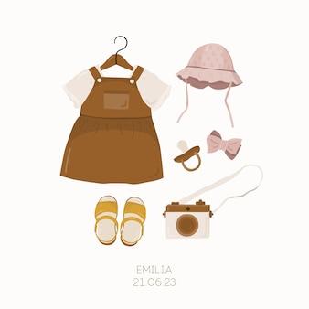 Babyparty-einladung mit kinderkleidungsoutfit. kinderkartenvorlage.