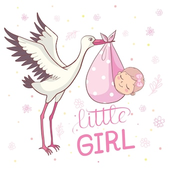 Babyparty-einladung mit storch. babyparty-kartenvorlage. einladung zur babyparty mit baby