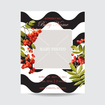 Babyparty-einladungsvorlage. blumengrußkarte mit bilderrahmen. dekoration für die geburtstagsfeier