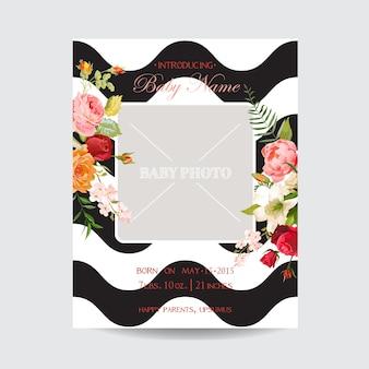 Babyparty-einladungsvorlage. grußkarten-fotorahmen mit lilien- und orchideen-blumen. dekoration für die geburtstagsfeier
