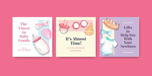 Babyparty-entwurfskartenaquarellillustration