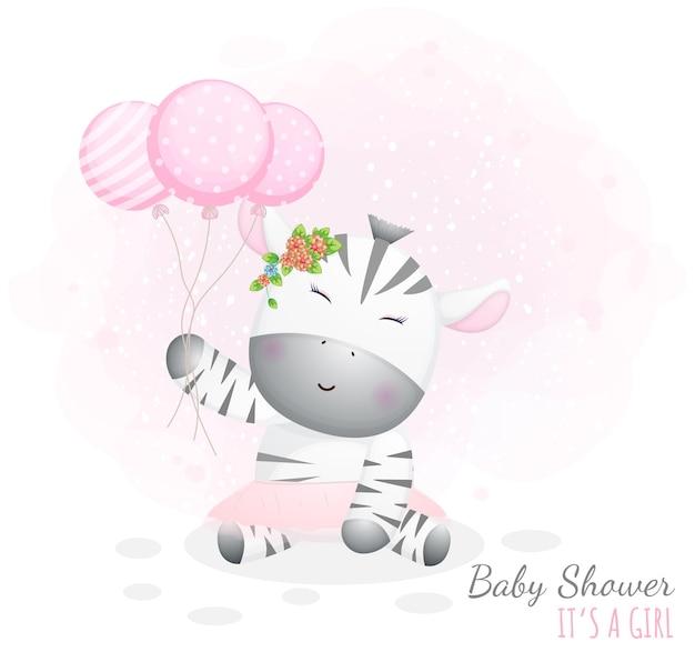 Babyparty, es ist ein mädchen. nettes babyzebra, das luftballons hält