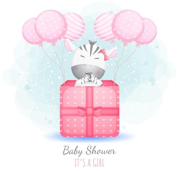 Babyparty, es ist ein mädchen. nettes babyzebra in einer geschenkbox mit luftballons