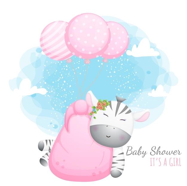 Babyparty, es ist ein mädchen. nettes babyzebra mit luftballons