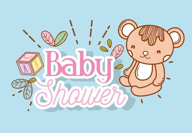 Babyparty-event mit teddy- und würfeldekoration