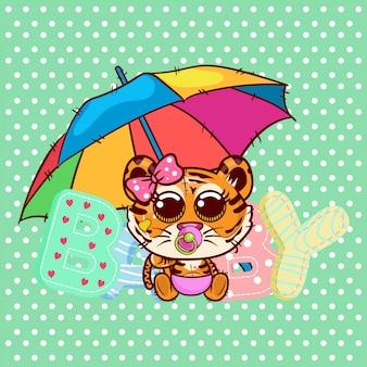 Babyparty-gruß-karte mit nettem karikatur-tigermädchen - vektor