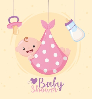 Babyparty, grußkarte hängenden schnuller des kleinen jungen und flaschenmilch