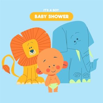 Babyparty (junge) mit elefant und löwe