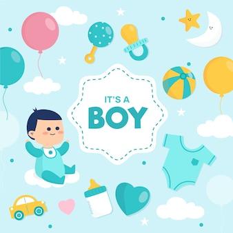 Babyparty (junge) mit luftballons und spielzeug