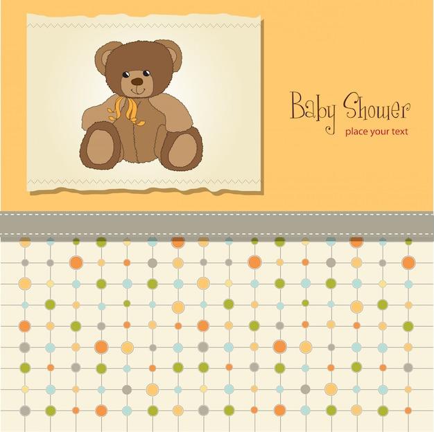 Babyparty-karte mit teddybär spielzeug