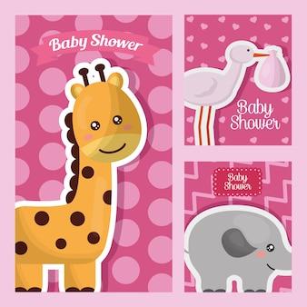 Babyparty-kartenaufkleber mit rosa hintergrund des giraffenelefantstorch-tieres