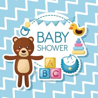 Babyparty-kartenbär lächelnde lätzchenente viele spielwaren blaue wimpel