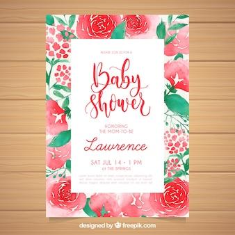 Babyparty-karteneinladung mit aquarellblumen