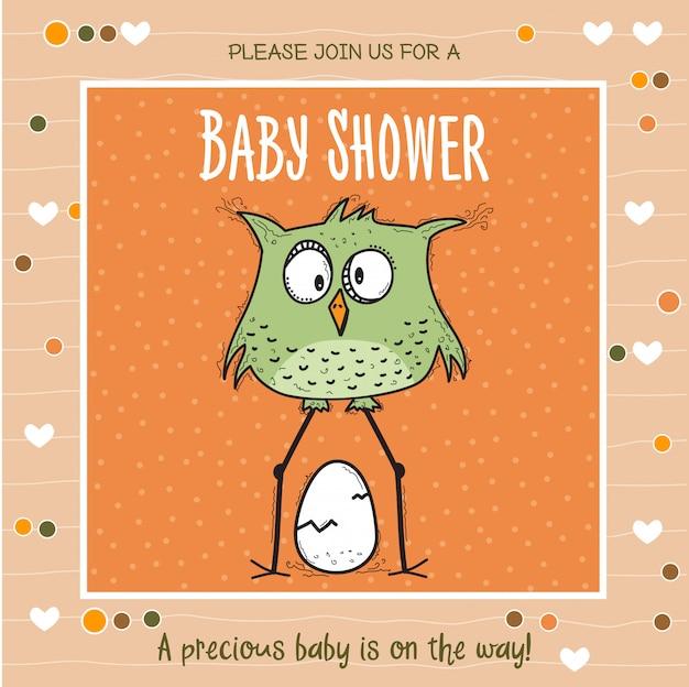 Babyparty-kartenschablone mit lustigem gekritzelvogel