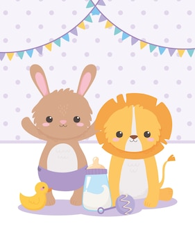 Babyparty, kleines löwenkaninchen mit rasselente und milchflasche, feier willkommen neugeborenes