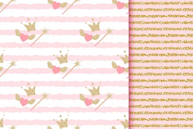 Babyparty mädchen und junge prinzessin und prinz nahtlose muster mit goldglitterkronen, zauberstab, engelsherzen auf rosa gestreift