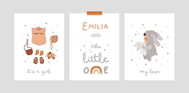 Babyparty, meilensteinkarten mit kleinem mädchen