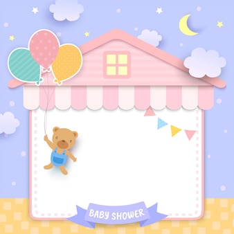 Babyparty mit dem bären, der ballone und hausrahmen hält