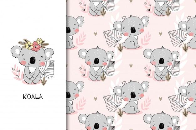 Babyparty mit niedlichem sitzendem koalabärencharakter. kinder dschungelkarte und nahtloser musterhintergrund. hand gezeichnete karikaturentwurfsillustration.