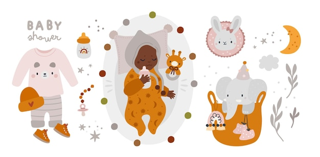 Babyparty neugeborene baby essentials kollektion im boho-stil Premium Vektoren