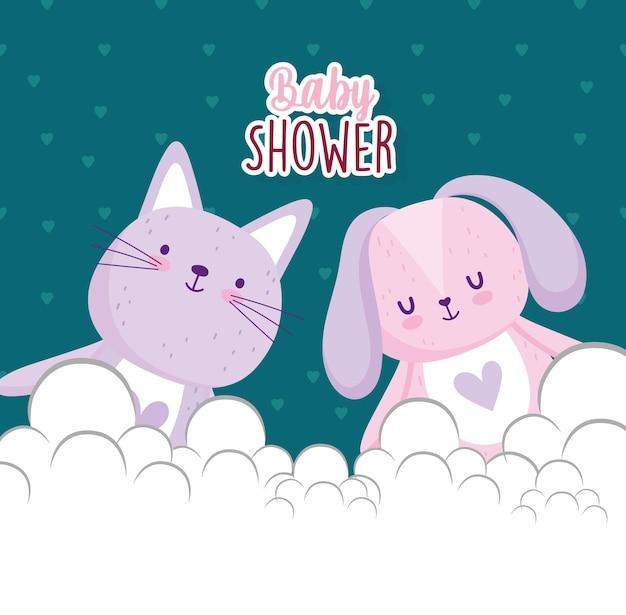 Babyparty, niedliche kaninchen- und katzenkarikatur-tierkartenvektorillustration