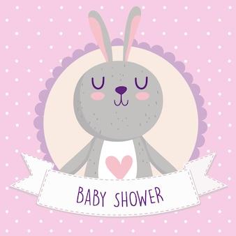 Babyparty, niedliche kaninchenkarikatur-tierkartenvektorillustration