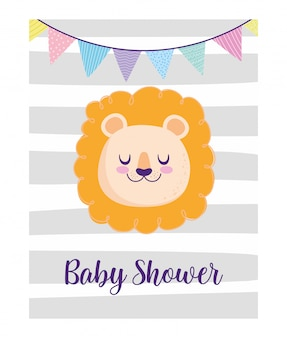 Babyparty, niedliche löwengesichtswimpeldekorations-tierkarikatur, themeneinladungskarte