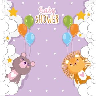 Babyparty, niedlicher löwe und bär mit luftballons und wolkenvektorillustration