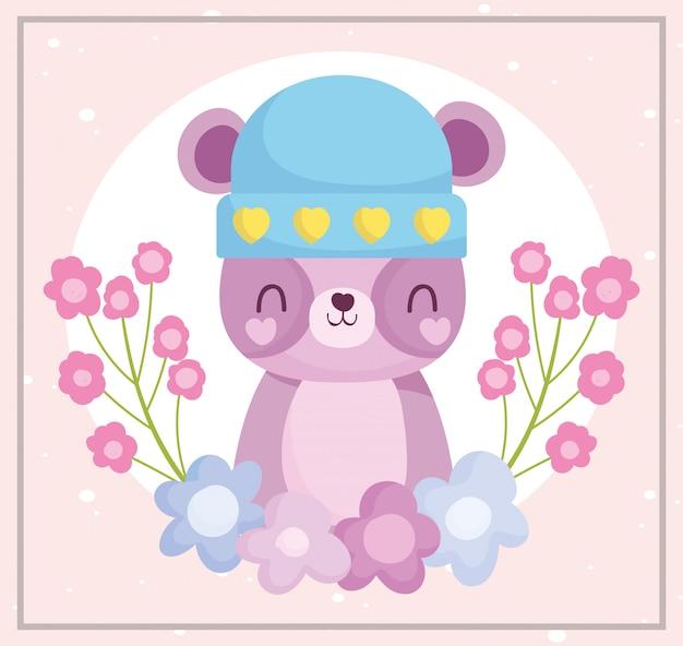 Babyparty, niedlicher teddybär mit hut und blumendekorationskarikatur, kündigen neugeborene willkommenskarte an