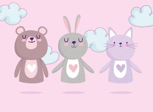 Babyparty, niedliches bärenkaninchen und katzenherzen lieben entzückenden cartoon