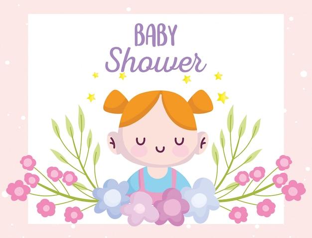 Babyparty, niedliches kleines mädchen mit blumendekorationskarikatur, kündigen neugeborene willkommenskarte an