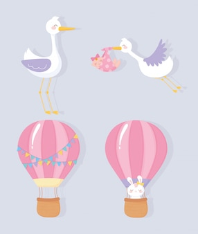 Babyparty, niedliches storch-kleines mädchen-heißluftballonkaninchen begrüßen neugeborene feierikonen