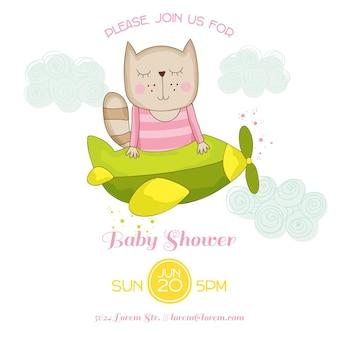 Babyparty oder ankunftskarte katze fliegt in einem flugzeug